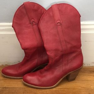 Red Jessica Simpson cowboy boots
